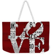 Love Sign Vintage License Plates On Red Barn Wood Weekender Tote Bag