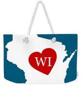 Love Wisconsin White Weekender Tote Bag