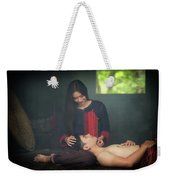 Lovely Happy Couple Have Fun.romantic Photo.hugs Together Weekender Tote Bag