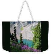 Lower Blue Lake Summer Portrait Weekender Tote Bag by Cascade Colors