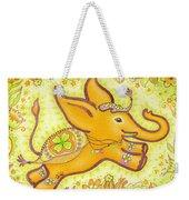 Lucky Elephant Orange Weekender Tote Bag