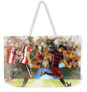Luis Suarez Takes The Ball Past Athletic Bilbao's Eneko Boveda A Weekender Tote Bag
