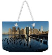 Luminous Blue Silver And Gold - Manhattan Skyline And East River Weekender Tote Bag