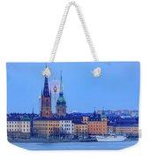 Lunar Teamwork Full Moon Rising Over Gamla Stan In Stockholm Weekender Tote Bag