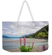 Lupin Flowers In Alpine Scenery At Kinloch, Nz. Weekender Tote Bag