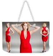 Luxury Female Fashion Model In Classy Red Dress Weekender Tote Bag