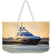 Luxury Yacht On Golen Sunset Weekender Tote Bag