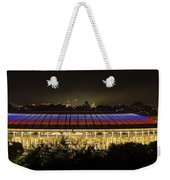 Luzhniki Stadium At Summer Night Against The Background Of The Ministry Of Foreign Affairs, The Cath Weekender Tote Bag