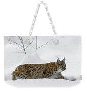 Lynx Hunting In The Snow Weekender Tote Bag