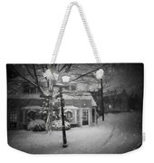 Mablehead Market Square Snowstorm Old Town Evening Black And White Painterly Weekender Tote Bag