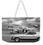 Mach 1 Mustang With P51 In Black And White Weekender Tote Bag