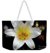 Macro Close Up Of White Lily Flower In Full Blossom Weekender Tote Bag