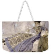 Madame Monet On A Sofa Weekender Tote Bag by Pierre Auguste Renoir