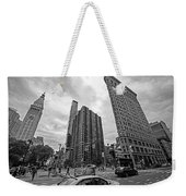 Madison Square Flatiron And Clock Tower New York Ny Black And White Weekender Tote Bag