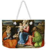 Madonna And Child With A Goldfinch With Saints Catherine And Paul Before An Extensive Landscape Weekender Tote Bag