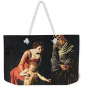 Madonna And Child With A Serpent Weekender Tote Bag by Michelangelo Merisi da Caravaggio