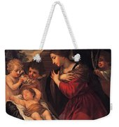 Madonna And Child With Child And Angles Weekender Tote Bag
