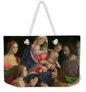 Madonna And Child With Saint John The Baptist Two Saints And Donors Weekender Tote Bag