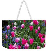 Magenta And White Tulips Weekender Tote Bag