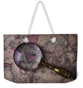 Magnifying  Glass On Old Map Weekender Tote Bag