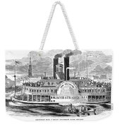 Mail Steamboat, 1854. /nthe Louisville Mail Company Steamboat Jacob Strader. Wood Engraving, 1854 Weekender Tote Bag