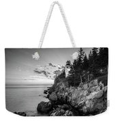 Maine Acadia Bass Harbor Lighthouse In Black And White Weekender Tote Bag by Ranjay Mitra