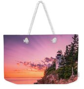 Maine Acadia Bass Harbor Lighthouse Sunset Weekender Tote Bag by Ranjay Mitra