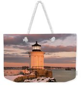 Maine Bug Light Lighthouse Snow At Sunset Weekender Tote Bag
