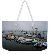 Maine Falmouth Boat Landing On Misty Morning Panorama Weekender Tote Bag