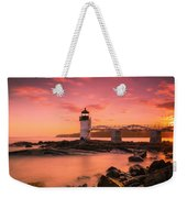 Maine Lighthouse Marshall Point At Sunset Weekender Tote Bag by Ranjay Mitra