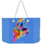 Maine Map Color Splatter 3 Weekender Tote Bag