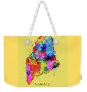 Maine Map Color Splatter 4 Weekender Tote Bag