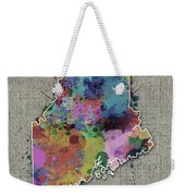 Maine Map Color Splatter 5 Weekender Tote Bag