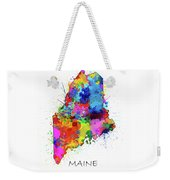 Maine Map Color Splatter Weekender Tote Bag