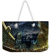 Majestic Chicago - Windy City Riverfront At Night Weekender Tote Bag