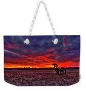 Majestic Red Clouds Winter Sunset The Iron Horse Art Weekender Tote Bag