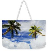 Majuro Atoll, Two Coconut Trees Lean Over Weekender Tote Bag