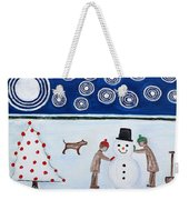 Making A Snowman At Christmas Weekender Tote Bag by Patrick J Murphy