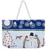 Making A Snowman At Christmas Weekender Tote Bag