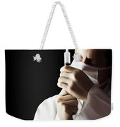 Male Doctor With Needle Syringe On Dark Background Weekender Tote Bag