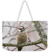 Male Downey Woodpecker Weekender Tote Bag