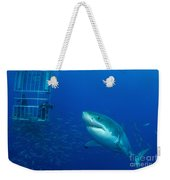 Male Great White Shark And Divers Weekender Tote Bag
