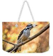 Male Hairy Woodpecker Weekender Tote Bag