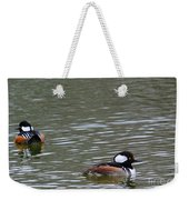 Male Hooded Mergansers Weekender Tote Bag