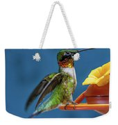 Male Hummingbird Spreading Wings Weekender Tote Bag