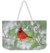 Male Northern Cardinal In Winter Weekender Tote Bag