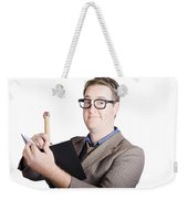 Male Office Pa Writing In Diary. Event Planner Weekender Tote Bag by Jorgo Photography - Wall Art Gallery
