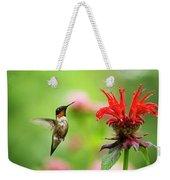 Male Ruby-throated Hummingbird Hovering Near Flowers Weekender Tote Bag