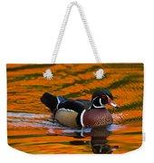 Male Wood Duck, Aix Sponsa, Swimming Weekender Tote Bag
