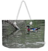 Drake Wood Duck On Pond Weekender Tote Bag